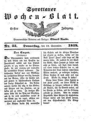Sprottauer Wochenblatt vom 19.09.1839