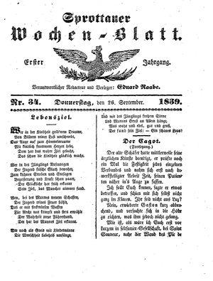 Sprottauer Wochenblatt vom 26.09.1839