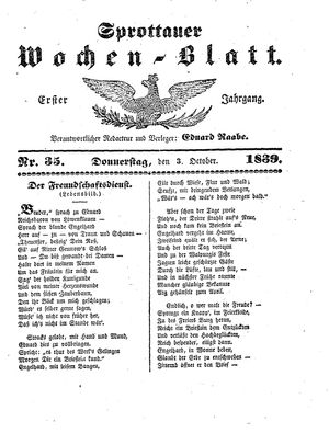 Sprottauer Wochenblatt vom 03.10.1839