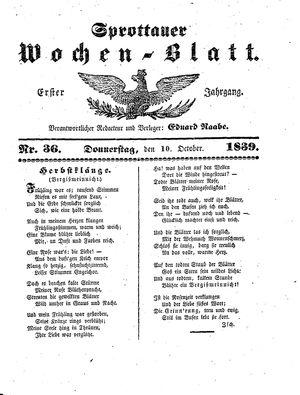 Sprottauer Wochenblatt vom 10.10.1839