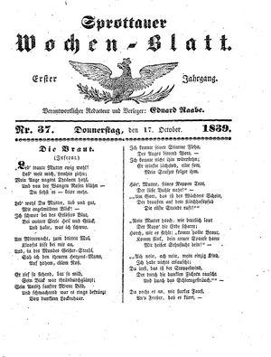 Sprottauer Wochenblatt on Oct 17, 1839