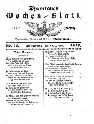 Sprottauer Wochenblatt vom 24.10.1839