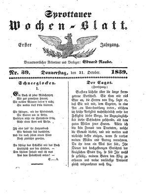Sprottauer Wochenblatt vom 31.10.1839