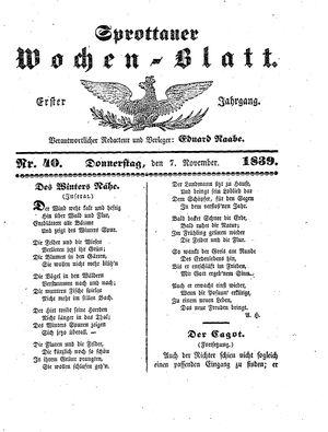 Sprottauer Wochenblatt vom 07.11.1839
