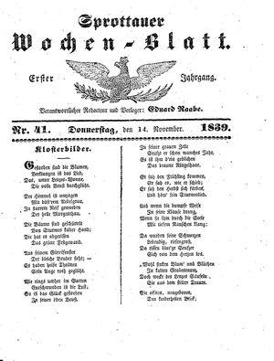 Sprottauer Wochenblatt vom 14.11.1839