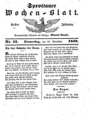 Sprottauer Wochenblatt vom 21.11.1839