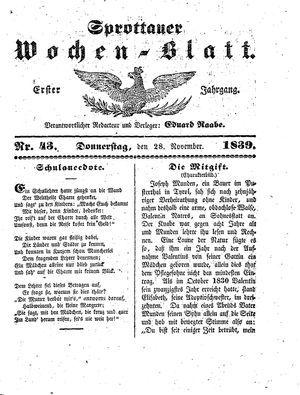 Sprottauer Wochenblatt vom 28.11.1839