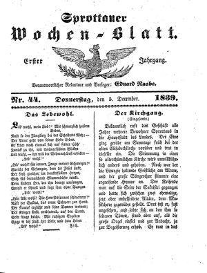 Sprottauer Wochenblatt vom 05.12.1839
