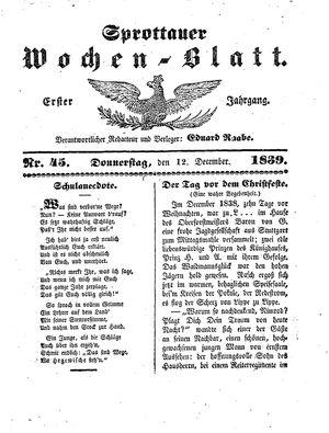Sprottauer Wochenblatt vom 12.12.1839