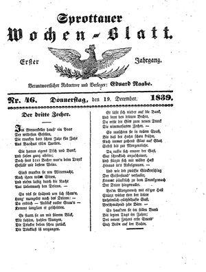 Sprottauer Wochenblatt vom 19.12.1839