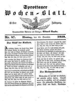 Sprottauer Wochenblatt vom 23.12.1839