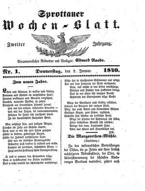 Sprottauer Wochenblatt vom 02.01.1840