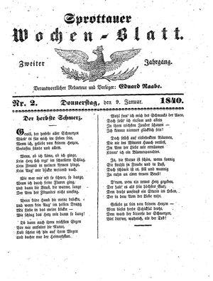 Sprottauer Wochenblatt vom 09.01.1840