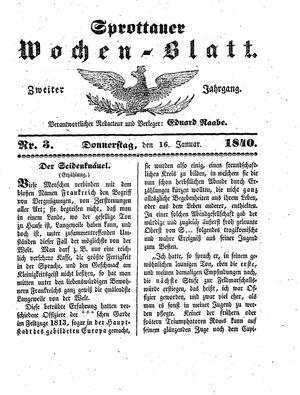 Sprottauer Wochenblatt vom 16.01.1840