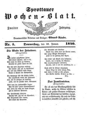 Sprottauer Wochenblatt vom 30.01.1840