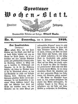 Sprottauer Wochenblatt vom 06.02.1840