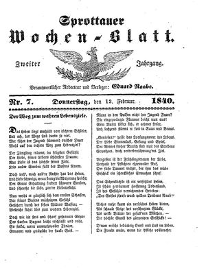 Sprottauer Wochenblatt vom 13.02.1840