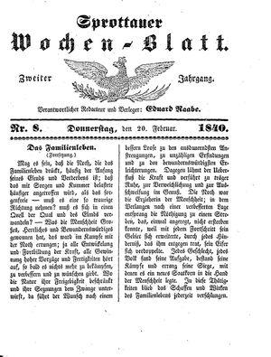 Sprottauer Wochenblatt vom 20.02.1840