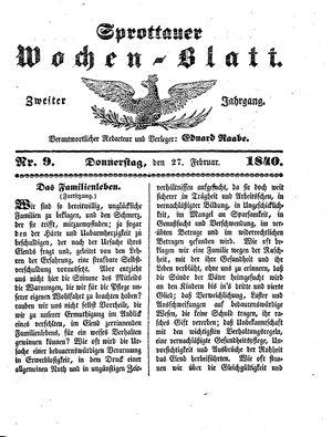 Sprottauer Wochenblatt vom 27.02.1840