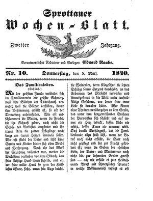 Sprottauer Wochenblatt vom 05.03.1840
