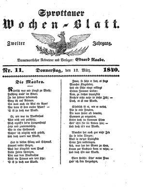 Sprottauer Wochenblatt on Mar 12, 1840