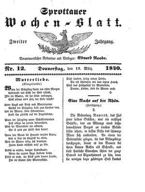 Sprottauer Wochenblatt vom 19.03.1840