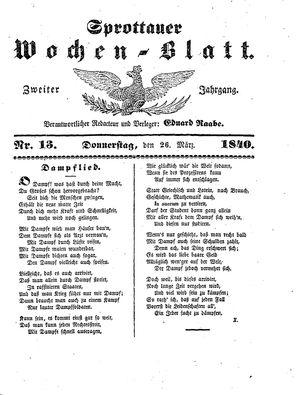 Sprottauer Wochenblatt vom 26.03.1840