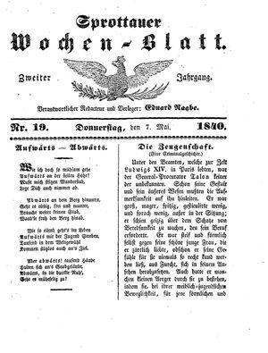 Sprottauer Wochenblatt vom 07.05.1840