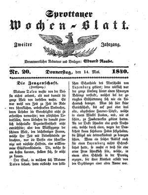 Sprottauer Wochenblatt vom 14.05.1840