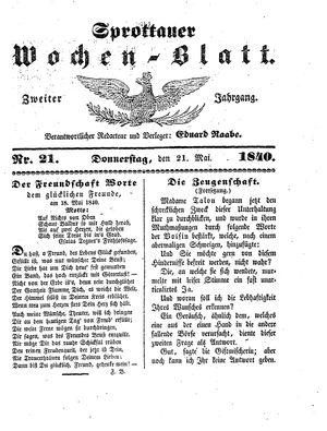 Sprottauer Wochenblatt on May 21, 1840