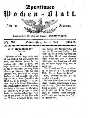 Sprottauer Wochenblatt vom 04.06.1840