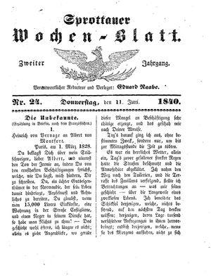 Sprottauer Wochenblatt vom 11.06.1840