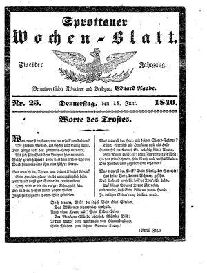 Sprottauer Wochenblatt vom 18.06.1840