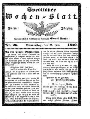 Sprottauer Wochenblatt vom 25.06.1840