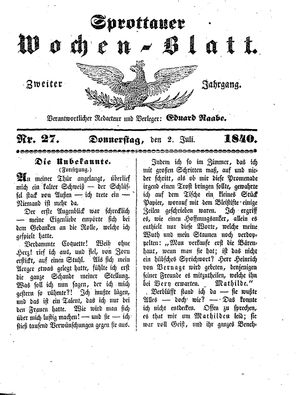 Sprottauer Wochenblatt vom 02.07.1840