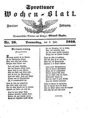 Sprottauer Wochenblatt vom 09.07.1840