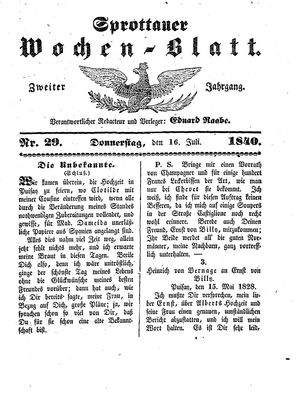 Sprottauer Wochenblatt vom 16.07.1840