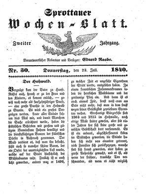 Sprottauer Wochenblatt vom 23.07.1840
