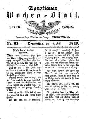 Sprottauer Wochenblatt vom 30.07.1840