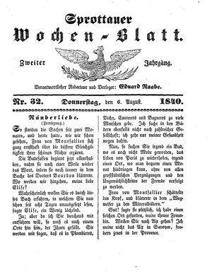 Sprottauer Wochenblatt vom 06.08.1840