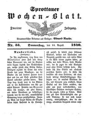 Sprottauer Wochenblatt vom 13.08.1840
