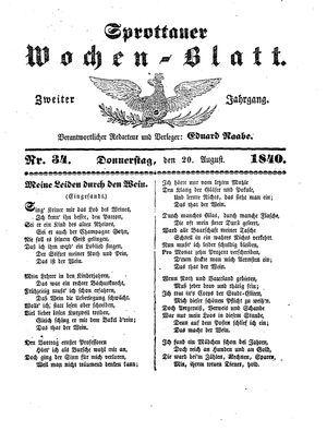 Sprottauer Wochenblatt vom 20.08.1840