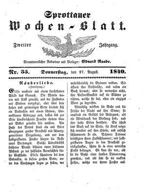 Sprottauer Wochenblatt vom 27.08.1840