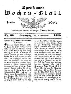 Sprottauer Wochenblatt vom 03.09.1840