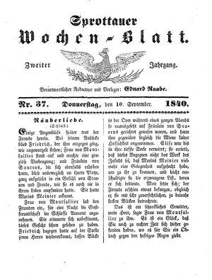 Sprottauer Wochenblatt on Sep 10, 1840
