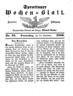Sprottauer Wochenblatt vom 24.09.1840