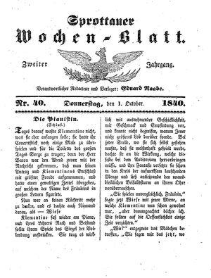 Sprottauer Wochenblatt vom 01.10.1840