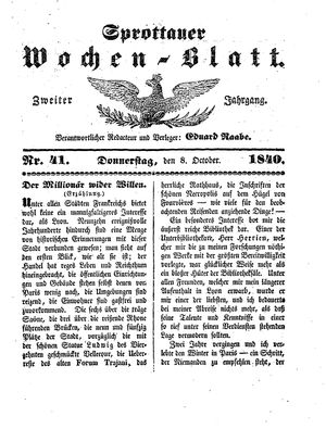 Sprottauer Wochenblatt vom 08.10.1840