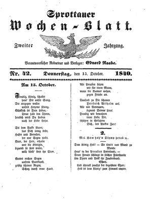 Sprottauer Wochenblatt vom 15.10.1840
