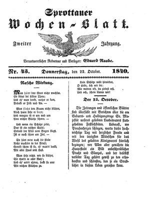 Sprottauer Wochenblatt vom 22.10.1840